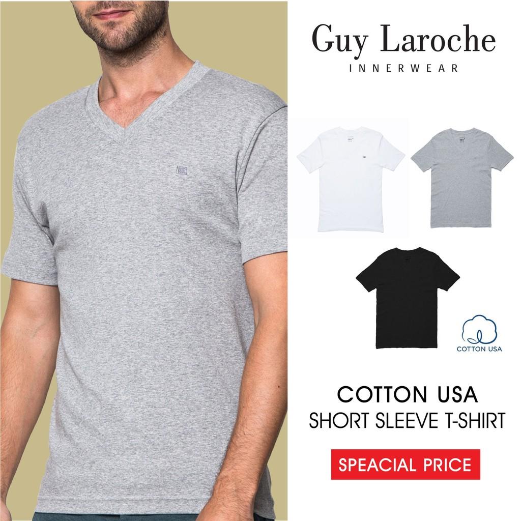 เสื้อยืด T-Shrit ชาย Guy Laroche คอวี (Body Fit) ผ้า Cotton มีให้เลือก 3 สี (JVV