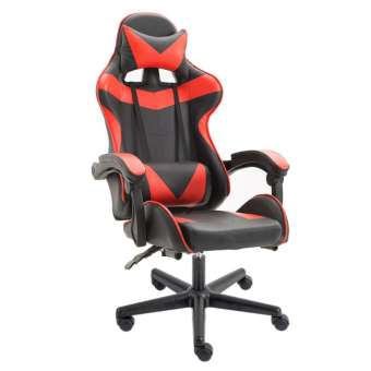 Racing Video Gaming Chair with Ergonomic Backrest and Seat Height Adjustment and Pillows Recliner Swivel Rocker Headrest