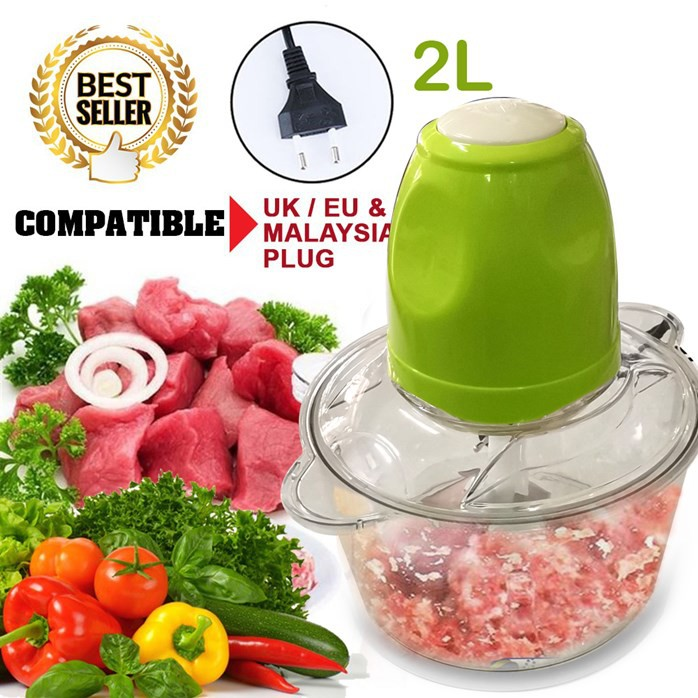MALAYSIA : 2 L PENGISAR DAGING BUAH SAYUR AYAM /2.0 L Electric Food Processor Meat Grinder (2 pin malaysia plug) blander