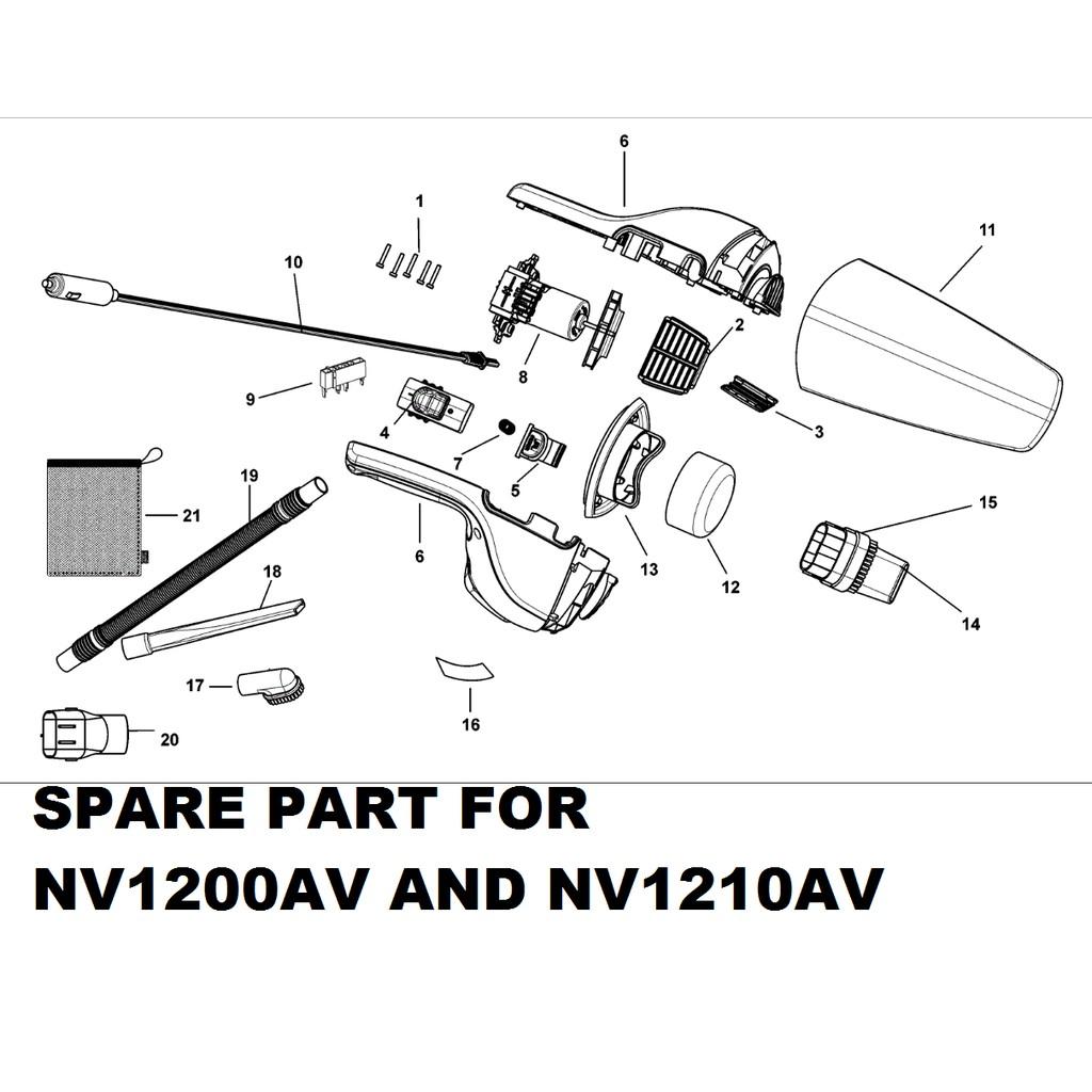 SPARE PART FOR BLACK DECKER NV1200AV NV1210AV 12V HANDHELD CAR VACUUM BLACK AND DECKER BLACK&DECKER BLACKERDECKER B&D BD