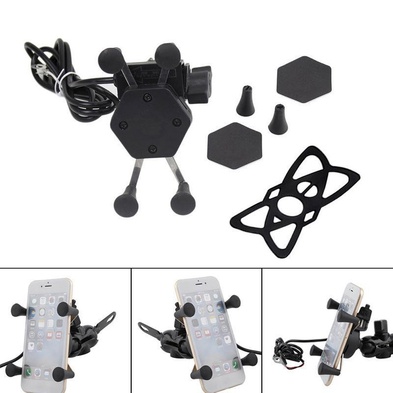 Motorcycle mobile phone holder charging X-type hex charging bracket USB car  char