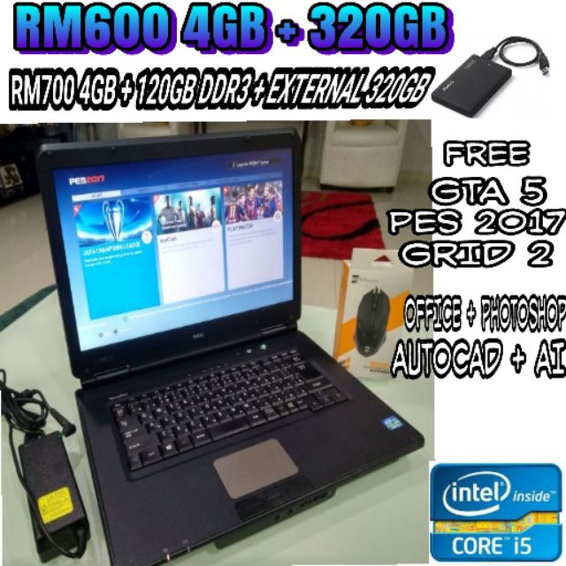 LAPTOP STUDENT DAN BAJET GAMING !! NEC VX-F CORE I5 3RD GEN ,4GB RAM  ,SSD,HDMI( REFURBISHED) LIKE NEW