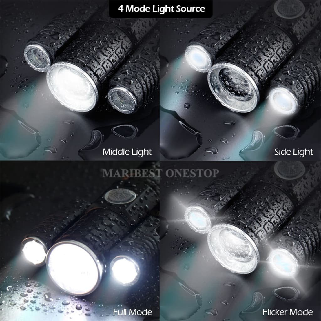 Tactical Outdoor LED Rotatable Torch Light Rotating Flashlight USB Charging Riding Night Fishing