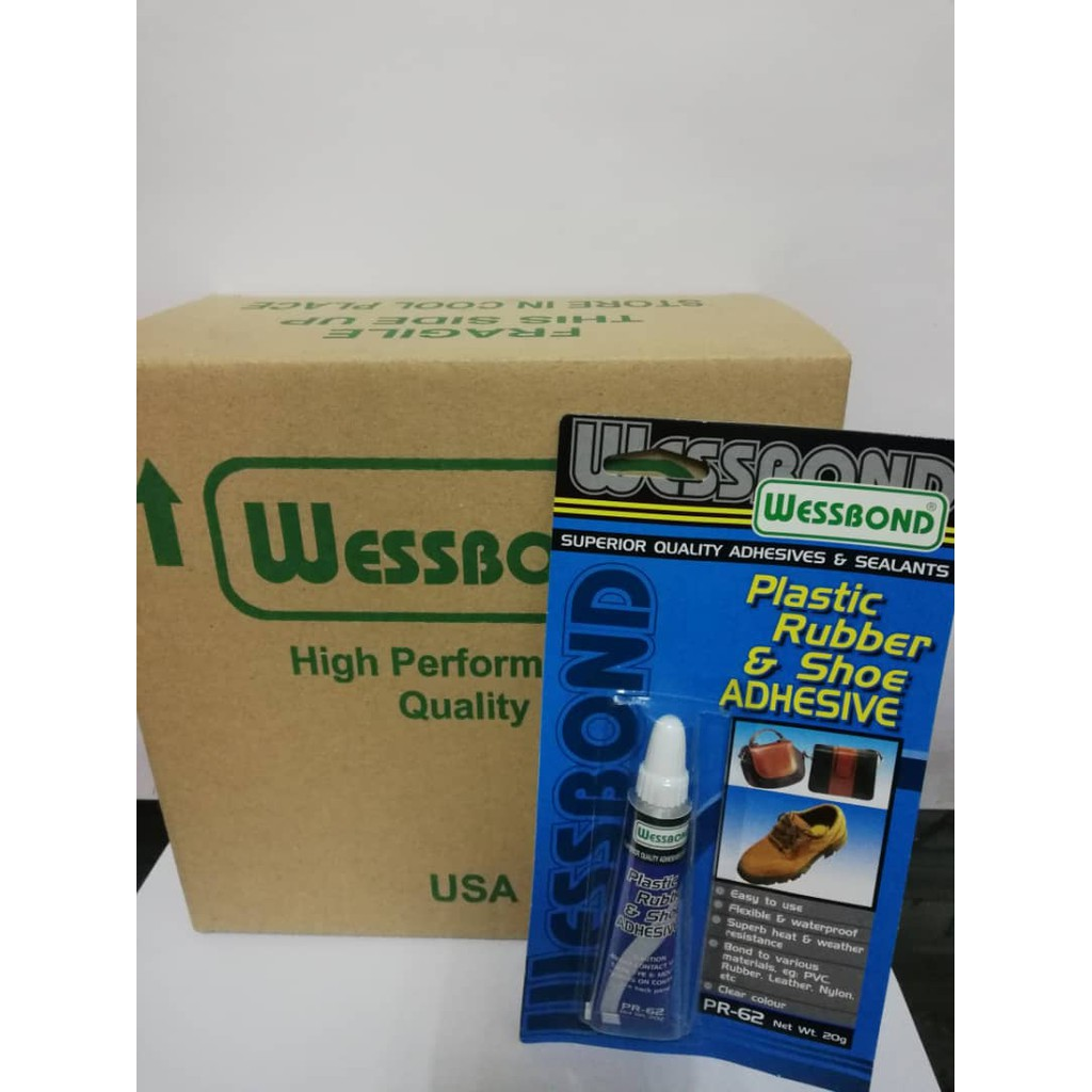 Wessbond Plastic Rubber & Shoe Adhesive Glue 20gm 12 card