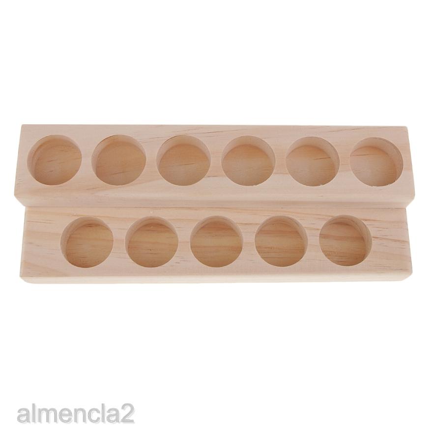2 Tier Wood Essential Oil Box Case Organizer Rack for Storage Display Stand