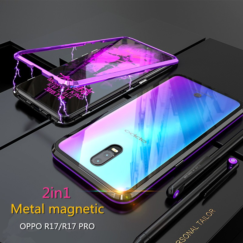 on sale 1c91f 7c0e3 OPPO R17 / R17 Pro Slim Magnetic Full Metal Bumper + Glass Back Cover Phone  Case