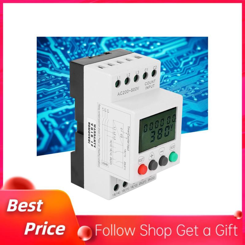 Over Under Voltage Phase Failure LCD Display Protector 3 Phase Voltage Monitor Relay for Pumps Crane Elevator Power Supply Monitor Relay
