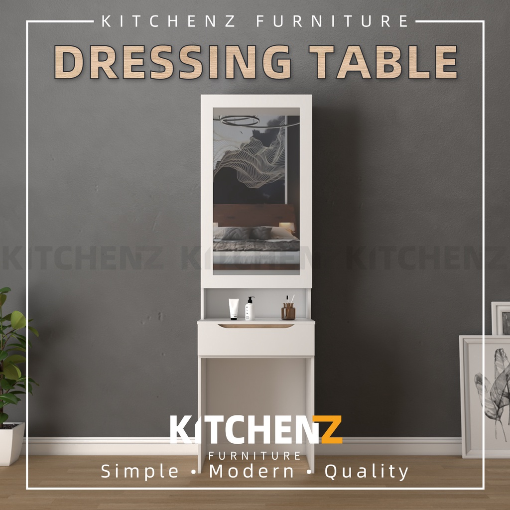 KitchenZ Simona Series 2FT Dressing Table Modernist Design Solid Board With Mirror Makeup Table/ Meja Solek - HMZ-FN-DT-S7011-WT