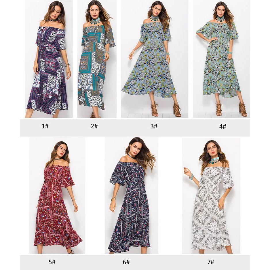 0918ab9f9cfdb Maxi Dresses New Fashion Women Flower Print Summer Beach Casual Long  Dresses Hot