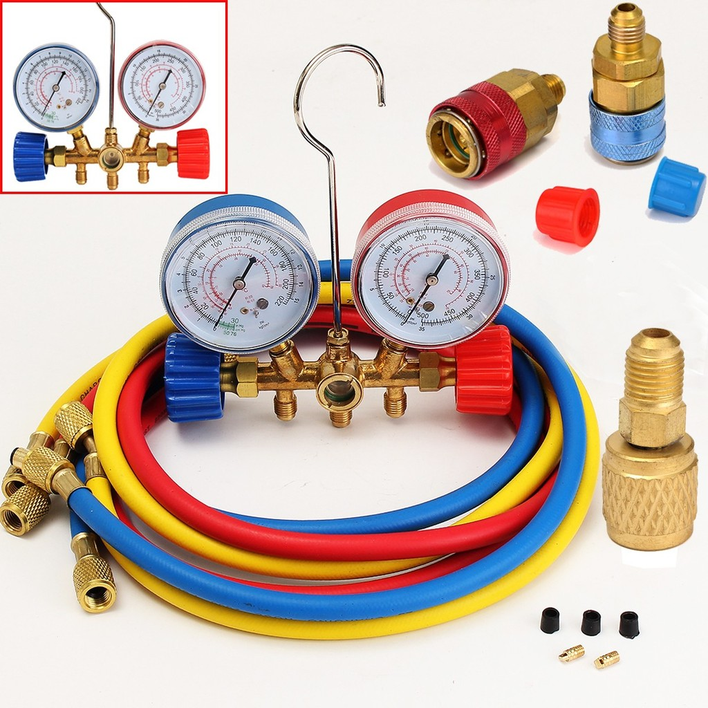 Refrigerant Refill Kit Gauge Charging Hose /& Instructions Kit B 410A R410a