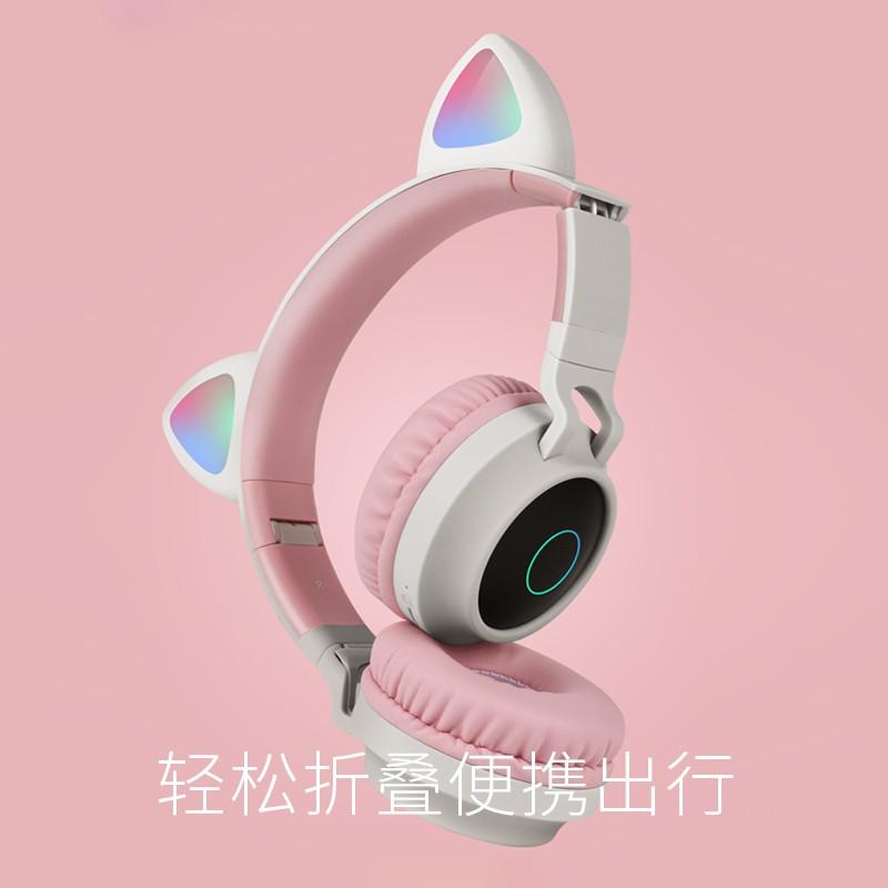 Suntai Head Mounted Cat Ear Headphones Wireless Headset Bluetooth Computer With A Microphone In Children E Sports Gam Shopee Malaysia
