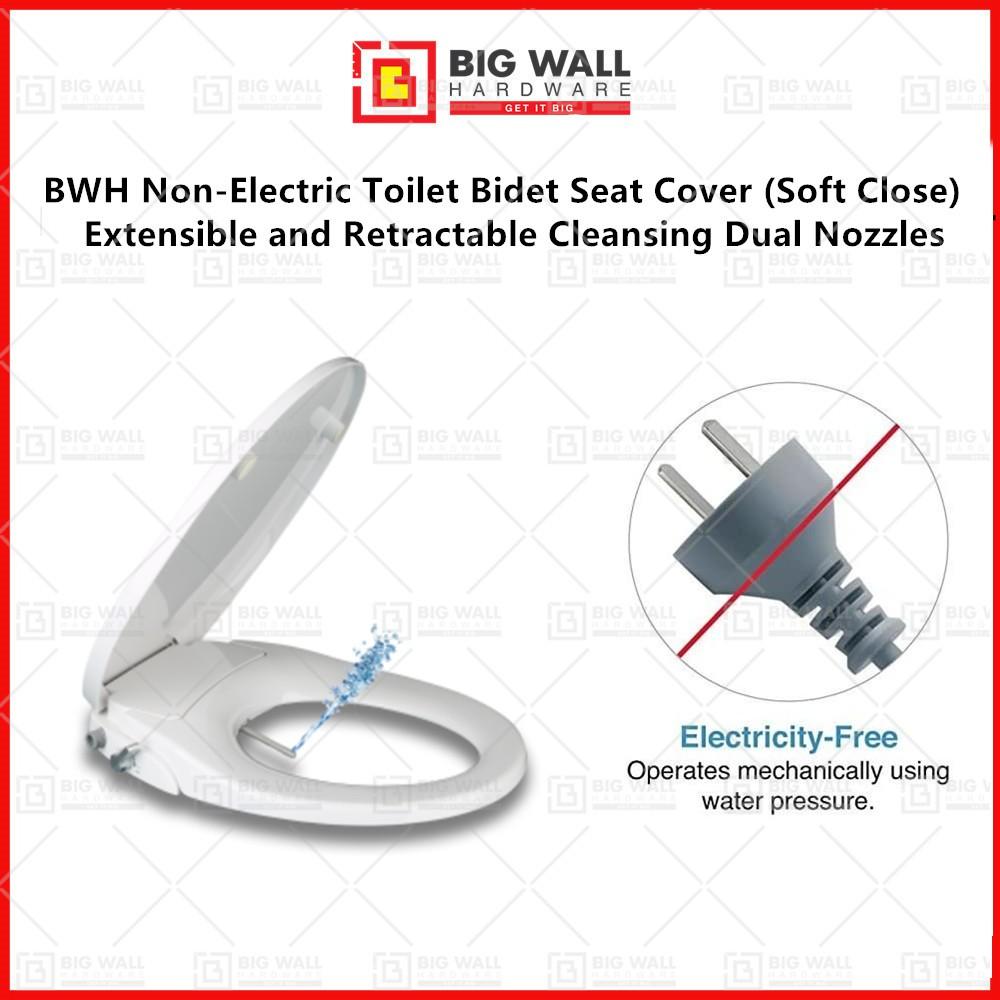 BWH High Quality Non Electric Toilet Bidet Seat Cover With O Shape Pan (Soft Close)  Dual Nozzles Big Wall Hardware