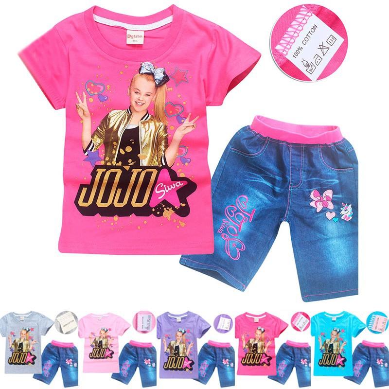 Kids Girls Jojo Siwa Short Sleeve T-shirt+Denim Shorts 2Pcs Set Clothes Outfits