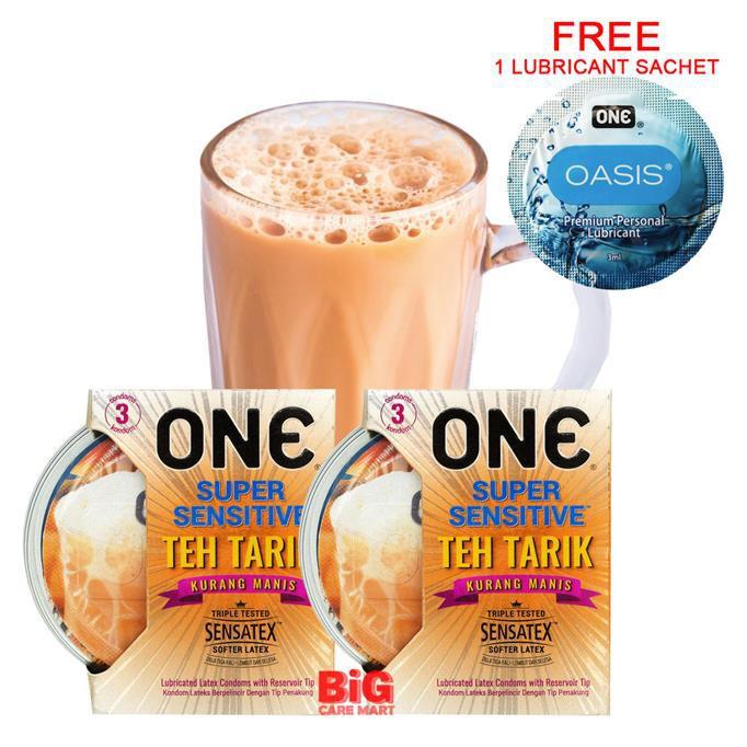 One Super Sensitive Teh Tarik Condoms 3Pcs x 2 Set [Free 1 Lube Sachet]