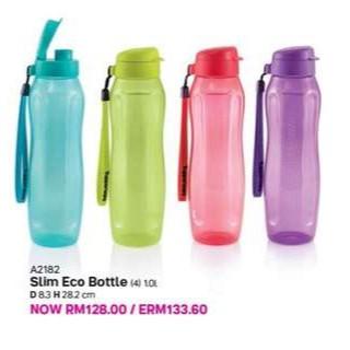 NEW Tupperware Water Bottle Tumbler 1L, Slim Eco Bottle Fliptop