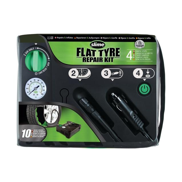 Slime Flat tire repair kit 12V Compressor With 450ml Emergency Tubeless Sealant