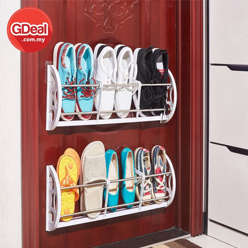 GDeal Shoe Rack Nail Free Wall Hanging Shoes Hanger Wall Paste Slipper Flip Flop Wall Stick Rack