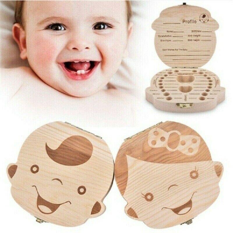Tooth Box Organizer Milk Teeth Wood Storage First Tooth Keepsake Baby Kids Box