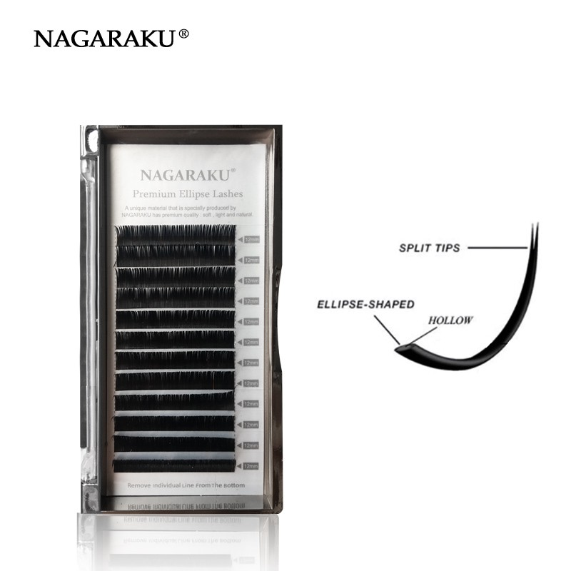 2ca16d98736 NAGARAKU Flat Ellipse Eyelash Extensions Split Tips Natural Light Double-tips  Individual False eyelashes Faux Mink ...