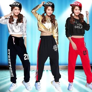 finest selection ab8c5 0ae32 women's clothing set jazz dance wear hip hop full sleeve t-shirt+pants