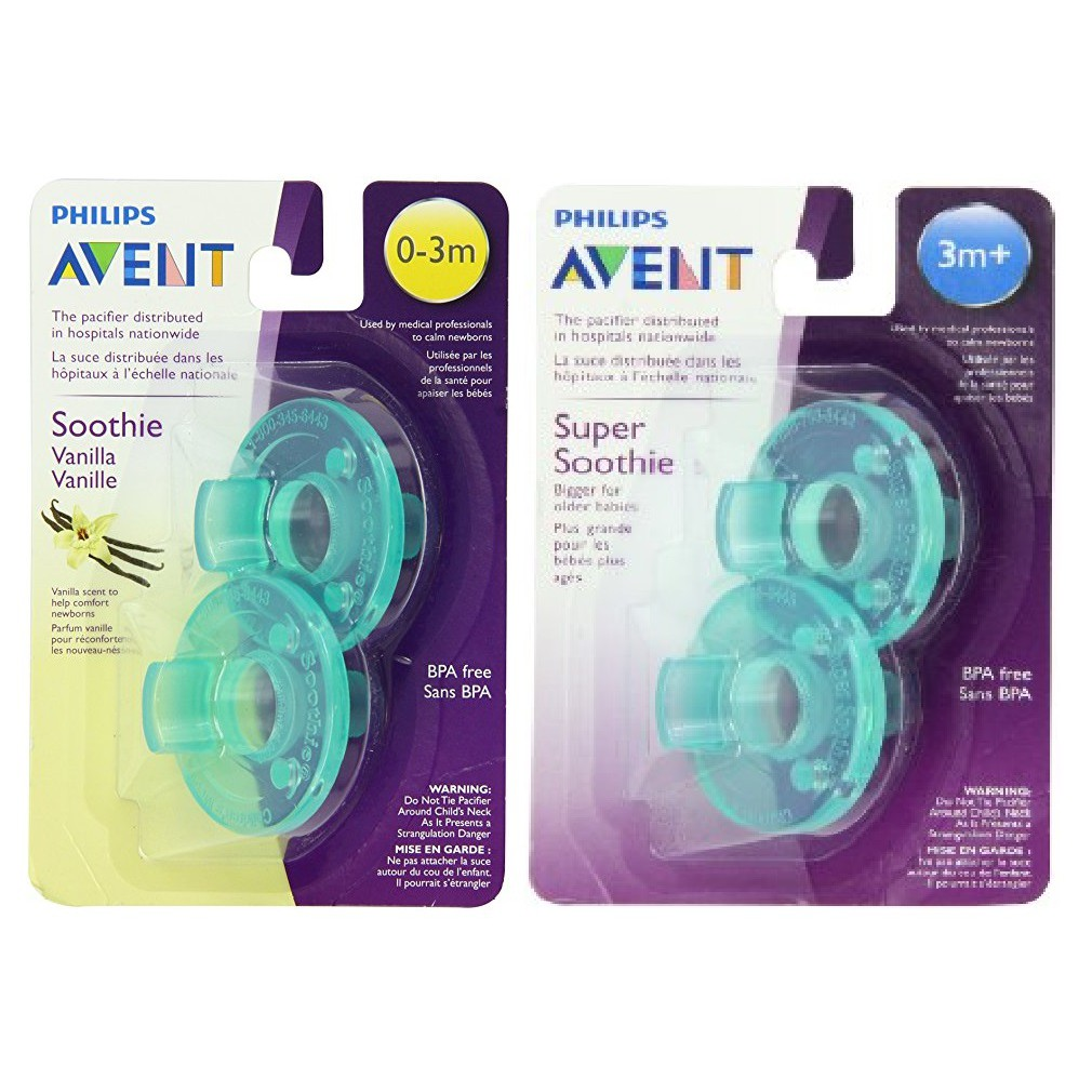 0-3 months Pink//Purple 2 Ct Phillips Avent Soothie Pacifier