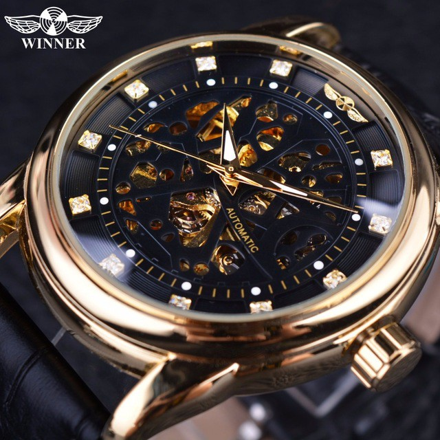 a3a2fcdc61f Winner Diamond Skeleton Designer Automatic Movement Brown Leather Strap  Watches