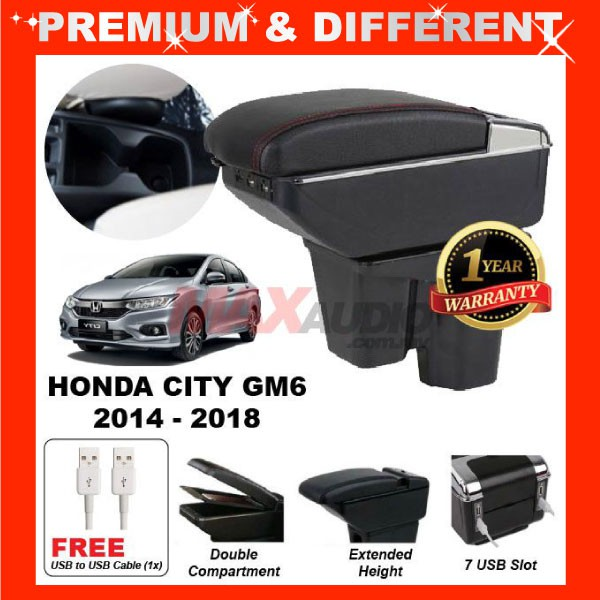 [FREE GIFT Gift] HONDA CITY GM6 2014 - 2019 COMFORT ADJUSTABLE ARMREST 7 USB PORT