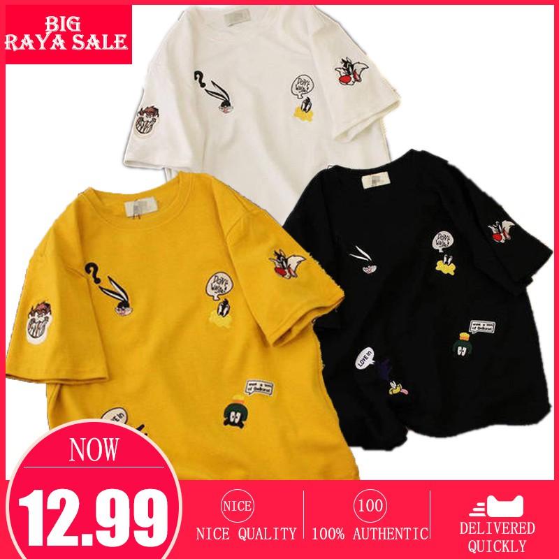 1c31f484 2019 New Korean Carton Short Sleeve TShirt Round Bottoming Shirt Women Tops