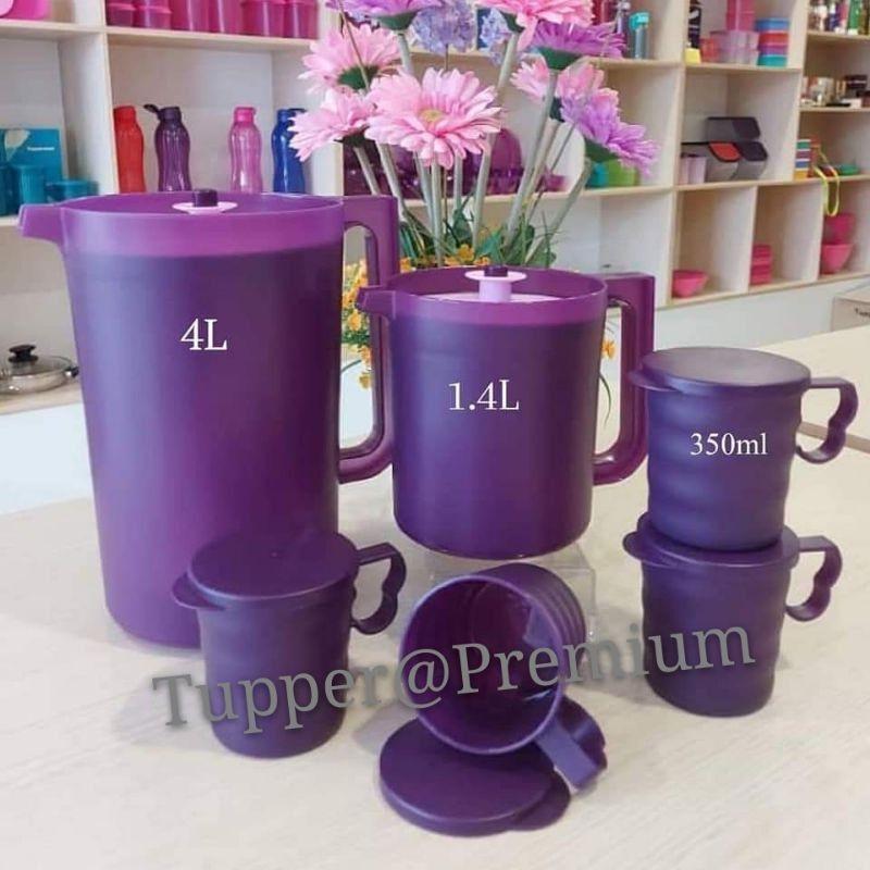 💝READY STOCK💝 Tupperware purple royale pitcher set 4.2L/2L/Mug&Seal 350ml