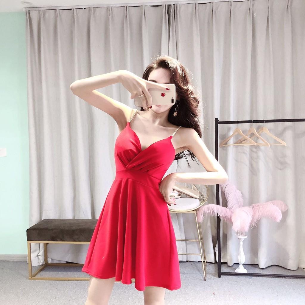 9af29e0f32 Summer dress nightclub women's sexy dress V-neck low chest leak back night  KTV Princess temperament strap skirt dress