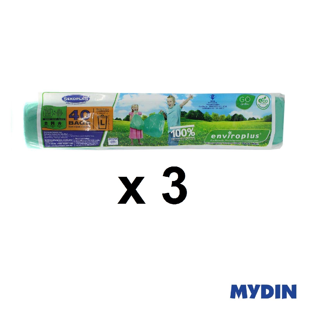 Sekoplas Biodegradeable Garbage Bag (75x90cm) Roll Size L (3Pcs)