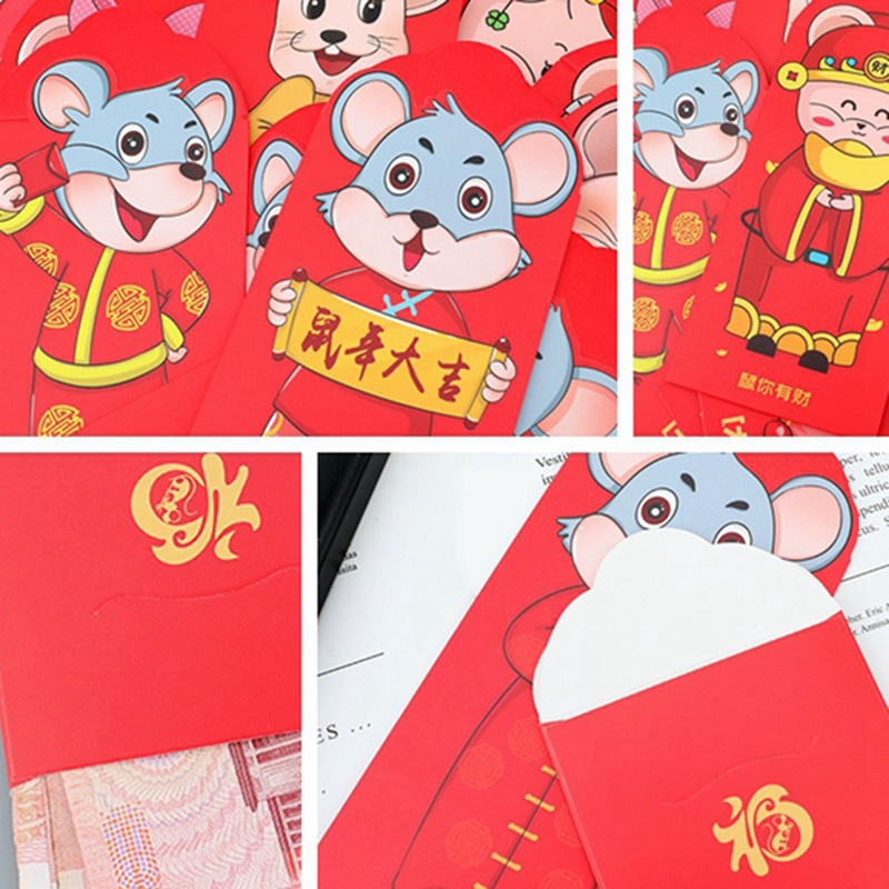"""Pack of 10 Deluxe LUCKY MONEY Red Envelopes CHINESE NEW YEAR Gift Packet 7/""""x3.5/"""""""