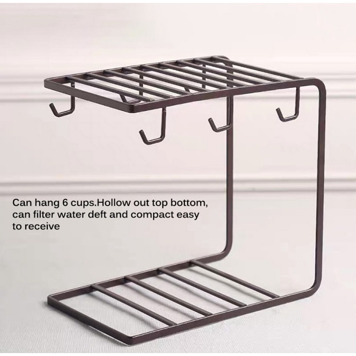[ READY STOCK ]  Nordic Inverted Iron Cup Holder Creative Metal Cup Storage Mug Tray Cawan Storage Kitchen Jualan Murah