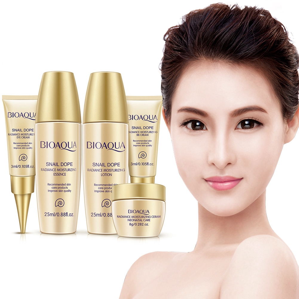 61ebbaa1db4c BIOAQUA 5PCS Whitening Cream Face Skin Care Set Facial Essence Lotion Acid  Liquid Anti Wrinkle Eye BB