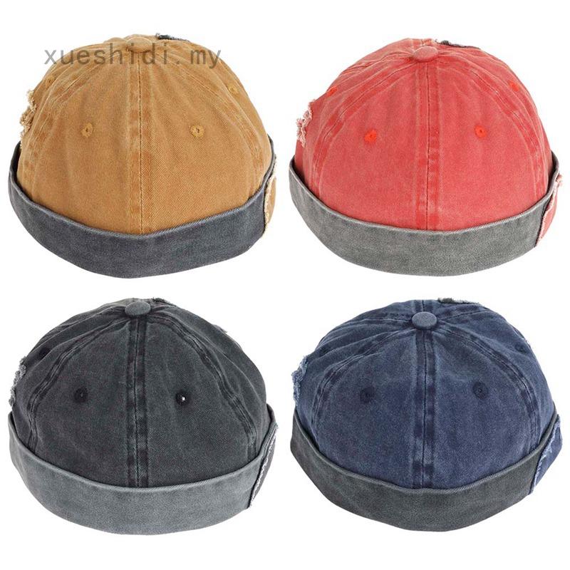 Be*anie Men Women Retro Brimless Portable Adjustable Skullcap Hip Hop Skull Cap