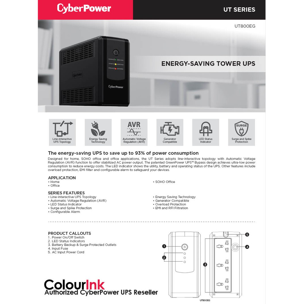 Cyber Power UT800E-UK (800VA/400W) UPS Battery Back-Up