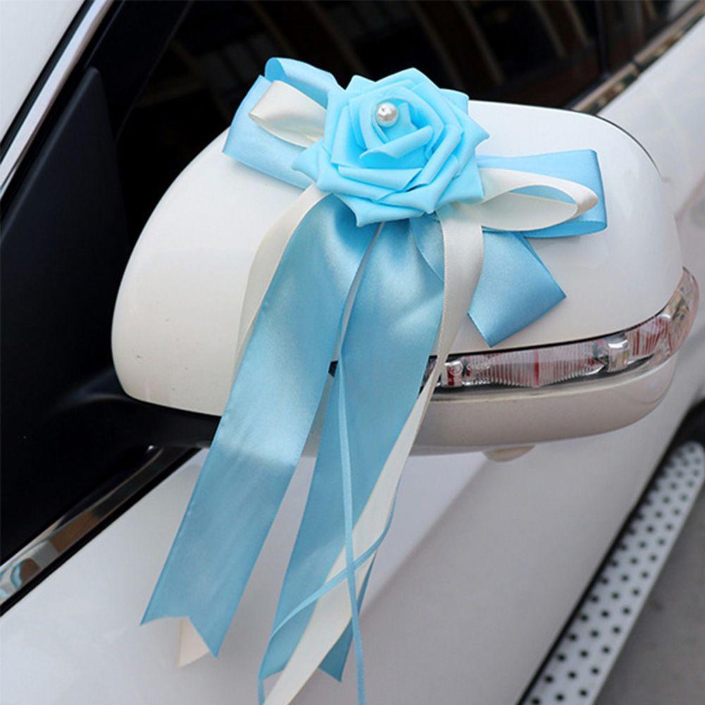 12 Colors Flowers Decoration Rearview Mirror Decorations Wedding Car Decor