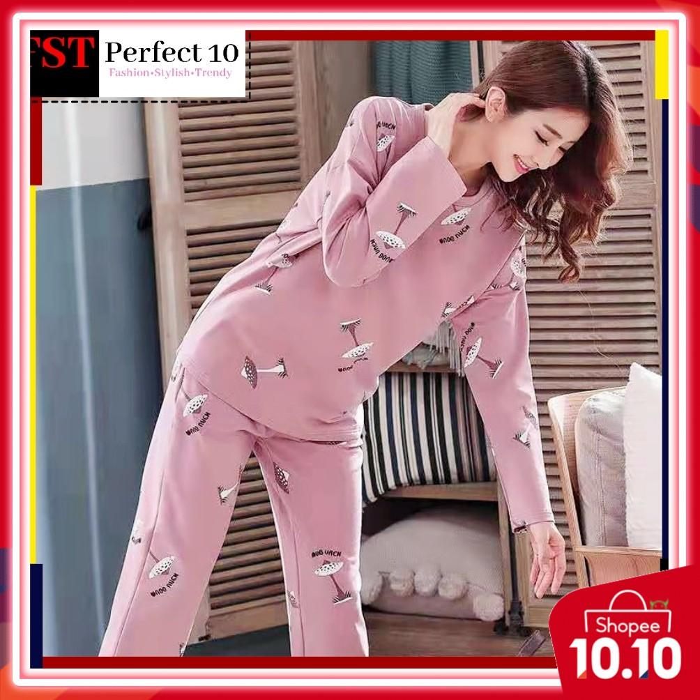 FST Silk Fabric Long Sleeve and Long Pant Pink Mushroom Pyjamas / Set Baju Tidur Elegant design [6042]