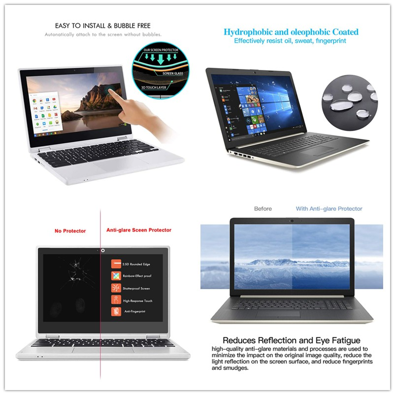 for 12.5 inches Laptop with Aspect Ratio 16:9 Premium Anti Blue Light and Anti Glare Screen Protector Easy and Bubble Free Installation 2 Pack