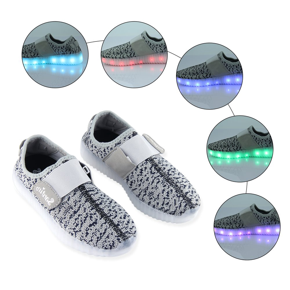 Breathable Children Shoes Boys Girls LED Light up USB Rechargeable Sneakers★