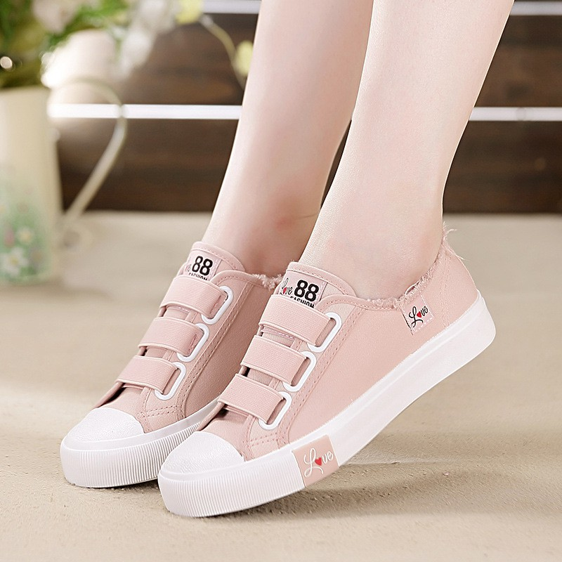 94115e5c0c6 Canvas shoes women's shoes Velcro pink lazy sneakers junior high school  students