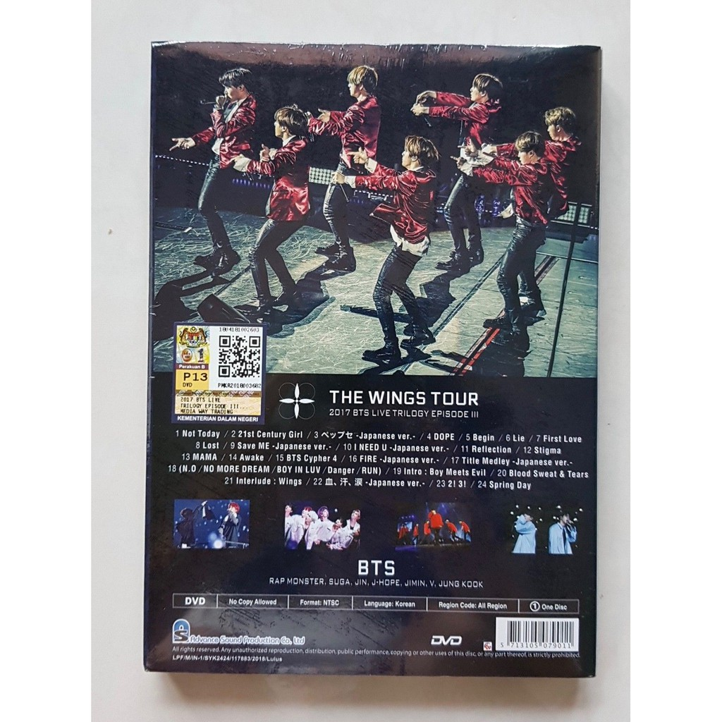 DVD THE WINGS TOUR 2017 BTS Live Trilogy Episode III (1 Disc
