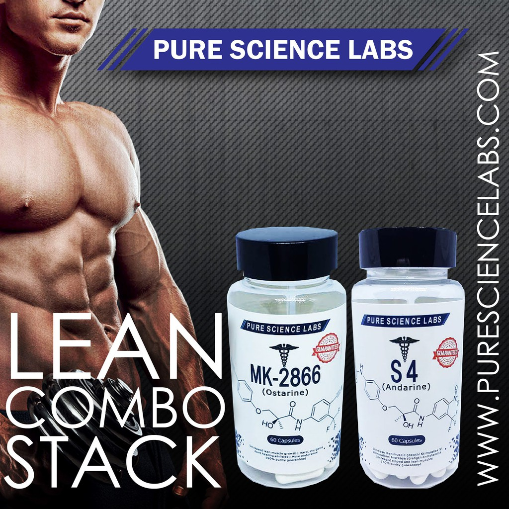 SARMS PURE SCIENCE LABS LEAN STACK COMBO MK-2866 & S4 (FREE T-SHIRT)