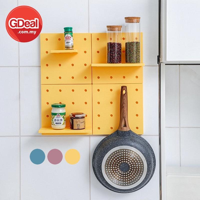GDeal Free Punch Peg Board Wall Hanging Storage Organizer Bedroom Board Rack Rak Hiasan رق هياسن