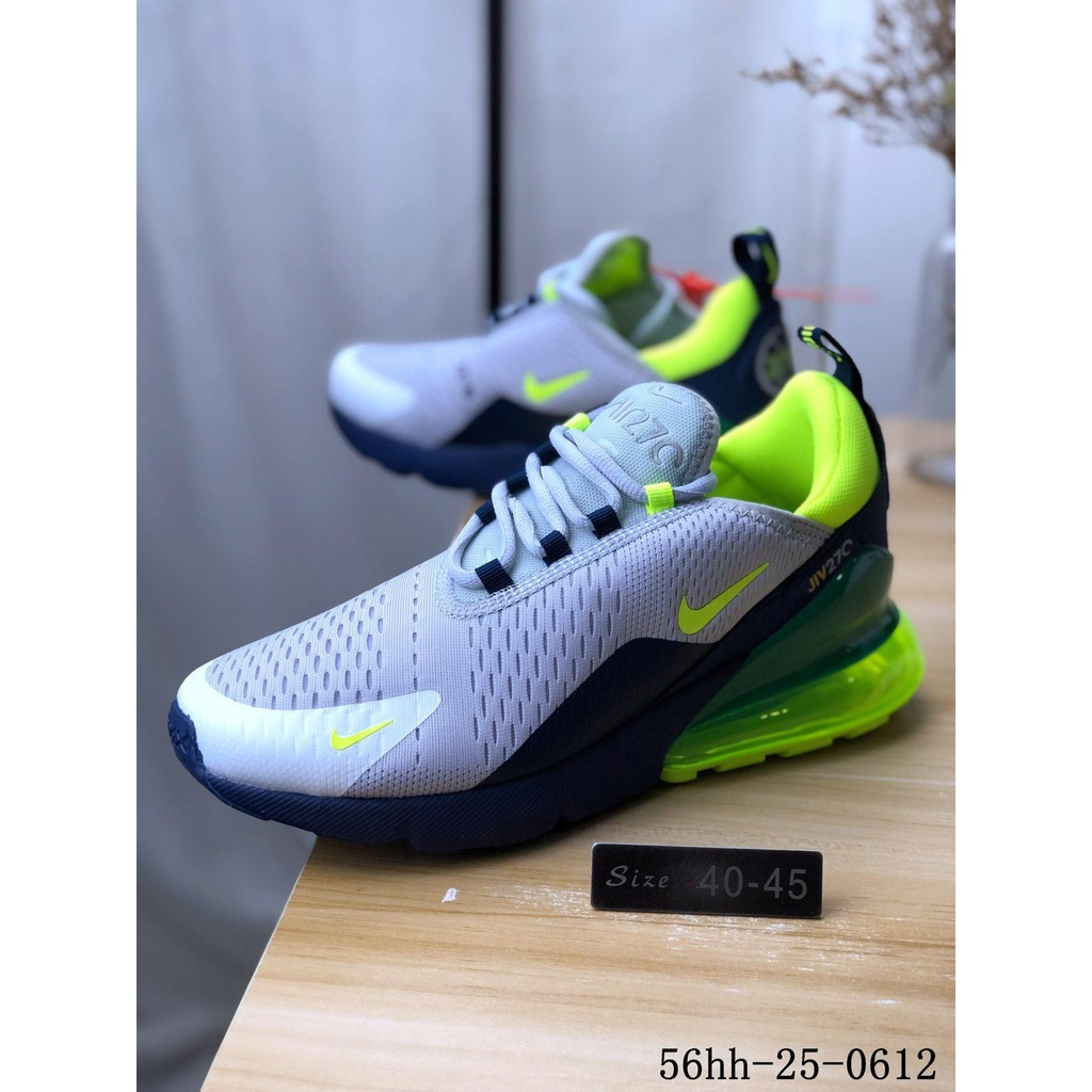 Ready Stock Nike Air Max 270 Air permeable mesh yarn anti skid and wear resistant rear air cushion running shoes