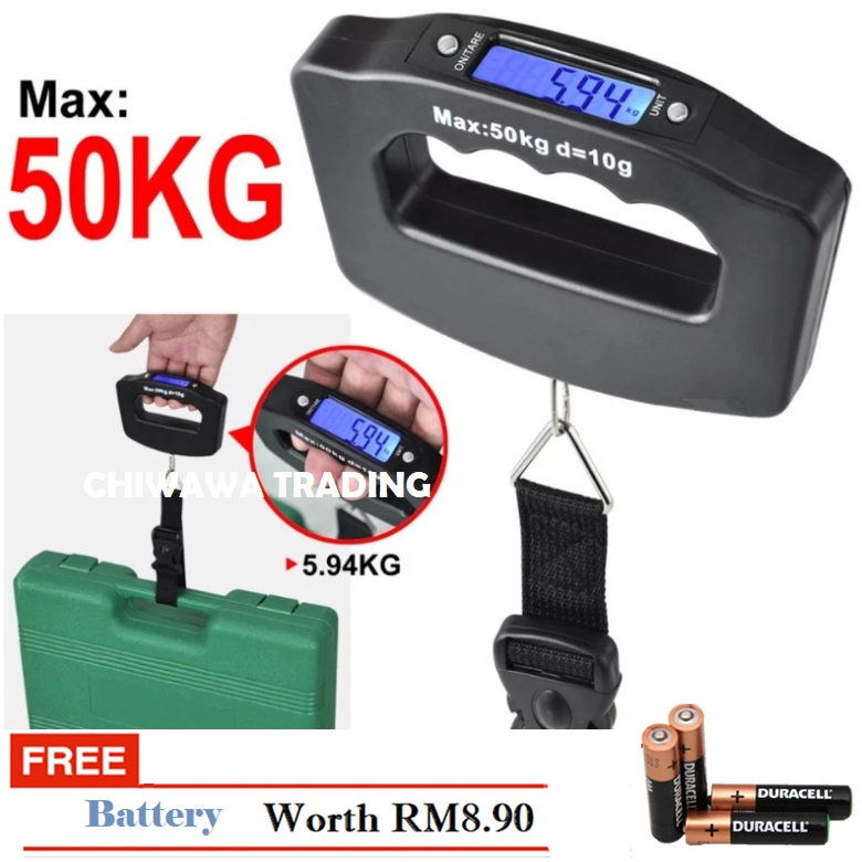 50kg/10g Electronic Digital Pocket Luggage Weight Scale Thermometer LCD Digital