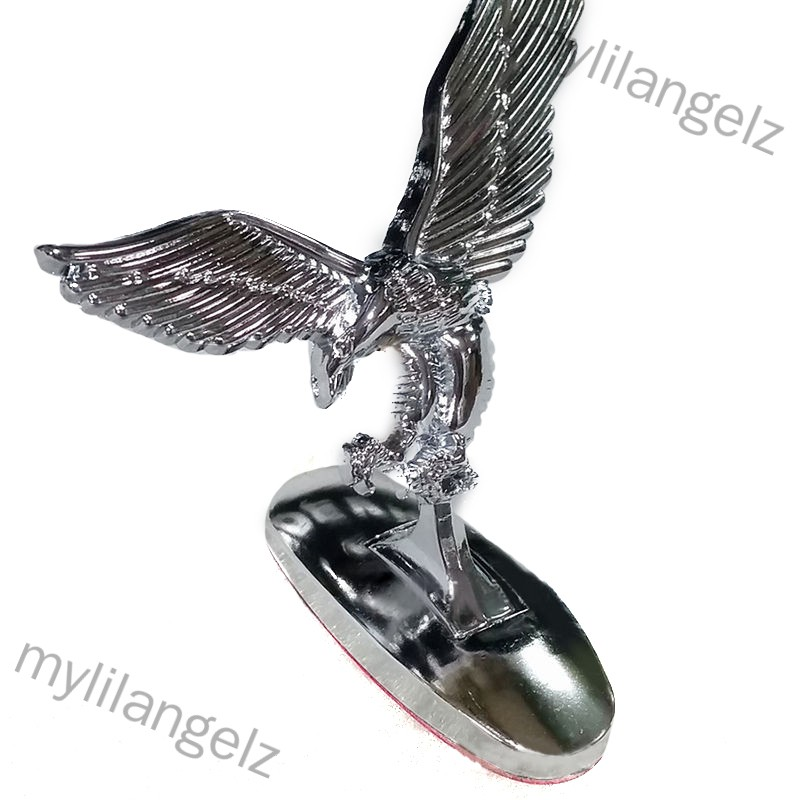 Mylilangelz 3D Emblem Car Logo Front Hood Ornament Car Cover Chrome Eagle Badge for Auto Car