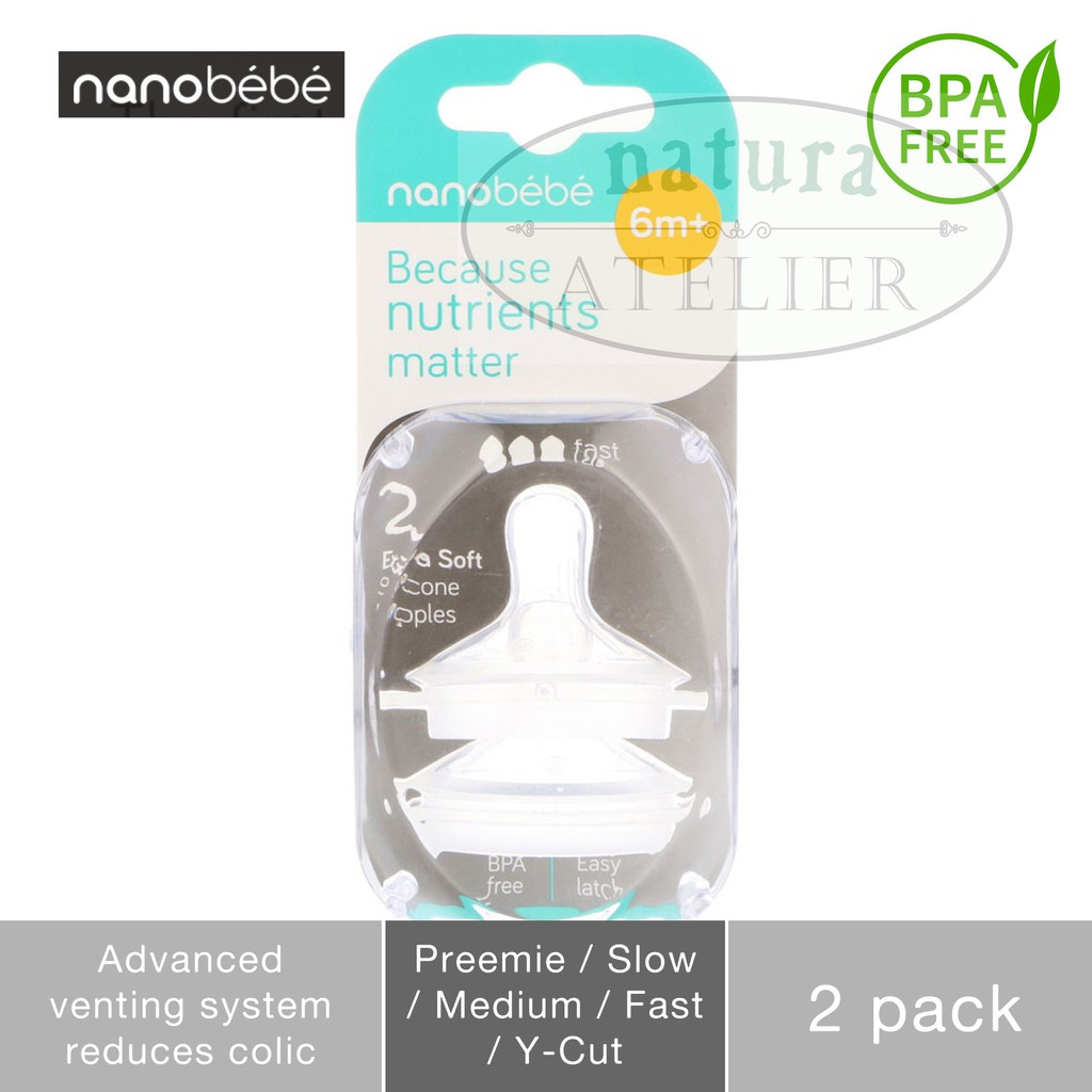 Nanobebe Because Nutrients Matter Extra Soft Nipples 2 Pack Y-cut 6m+ New