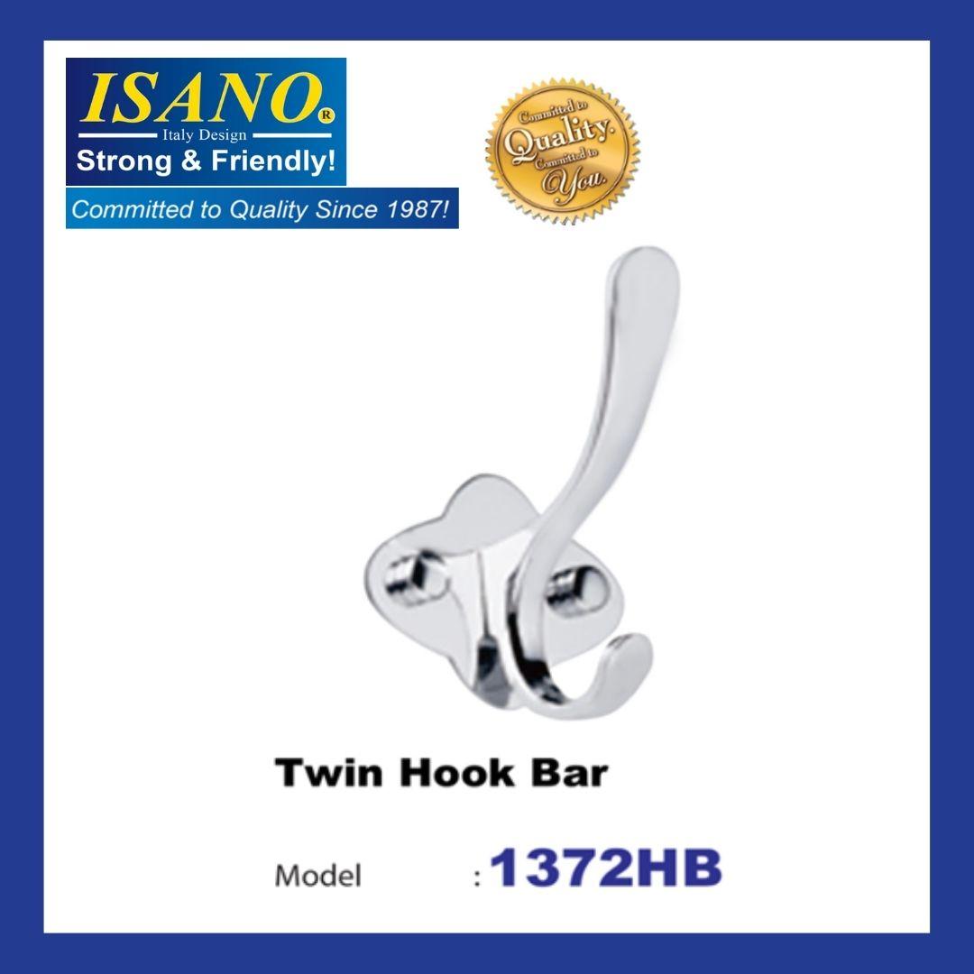 ISANO 1372HB STAINLESS STEEL TWIN HOOK BAR WALL MOUNT HANGER TOWEL CLOTH HANGER KITCHEN BATHROOM HOOK