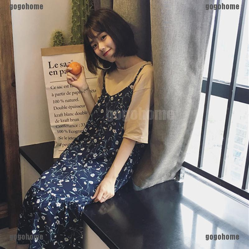 Fashion Women Dress Floral Long Losse Dress Korean Chiffon Knee-Length Dresses.